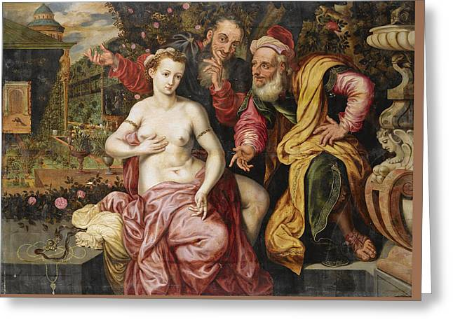 Susanna And The Elders Greeting Card by Circle of Frans Floris