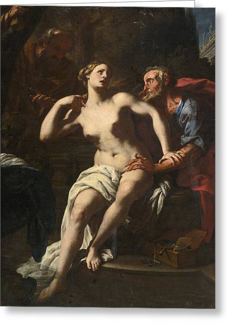 Susanna And The Elders Greeting Card by Francesco Trevisani