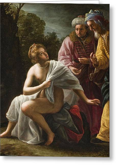 Bible Greeting Cards - Susanna and the Elders Greeting Card by Ottavio Mario Leoni