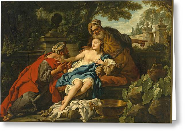 Susanna And The Elders Greeting Card by Studio of Jean-Francois Detroy