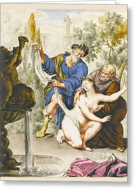 Susanna And The Elders Greeting Card by Willem van Mieris
