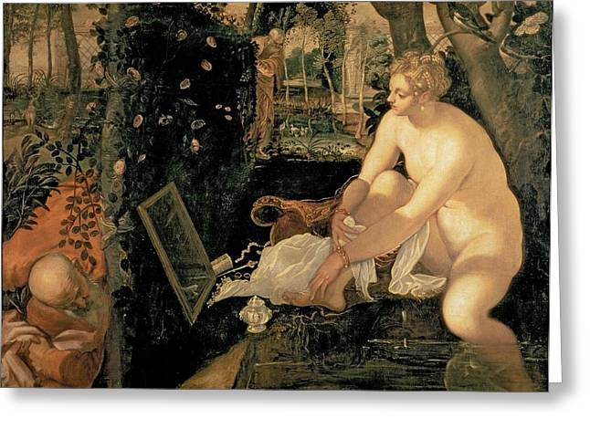 Susanna Bathing Greeting Card by Jacopo Robusti Tintoretto
