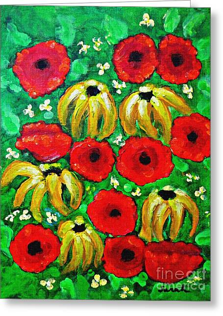 Susans And Poppies Greeting Card by Sarah Loft