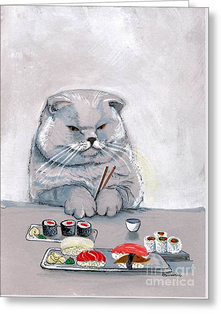 Sushi Cat The Grump Greeting Card by Christina Siravo