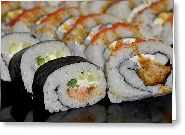 Greeting Card featuring the photograph Sushi Rolls From Home by Carolyn Marshall