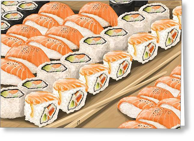 Greeting Card featuring the painting Sushi by Veronica Minozzi