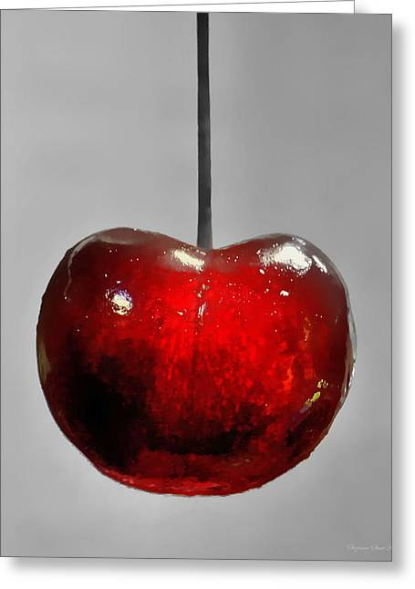 Suspended Cherry Greeting Card