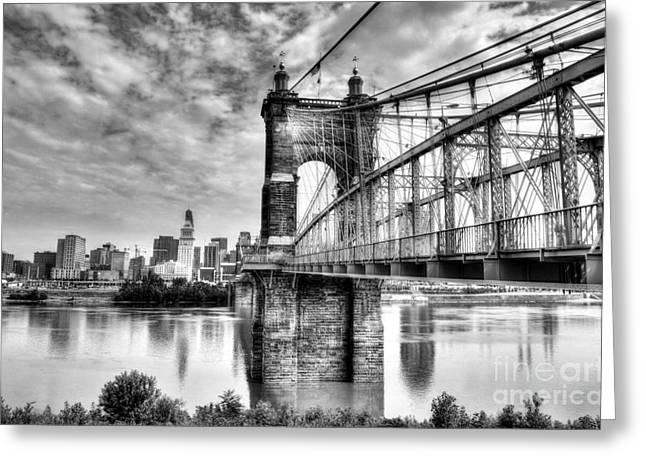 Suspension Bridge At Cincinnati Bw Greeting Card