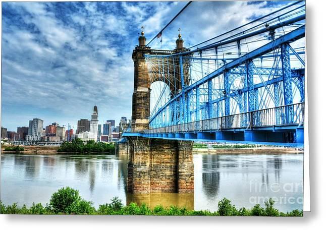 Suspension Bridge At Cincinnati Greeting Card
