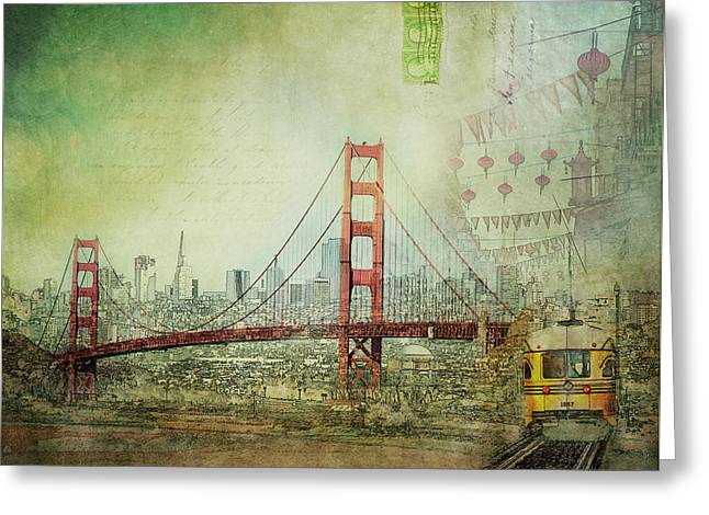 Greeting Card featuring the photograph Suspension - Golden Gate Bridge San Francisco Photography Mixed Media Collage by Melanie Alexandra Price