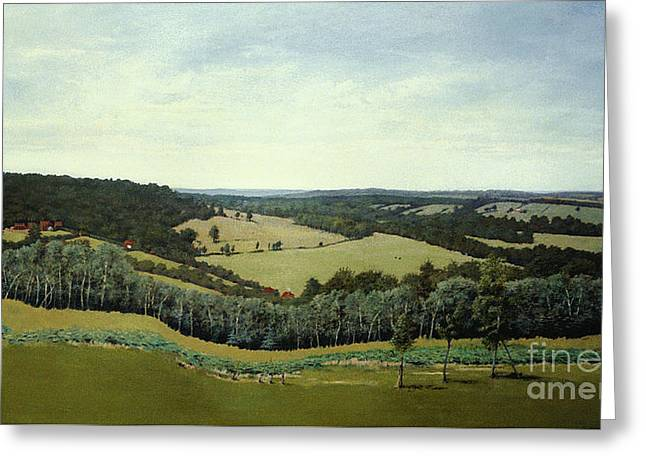 Greeting Card featuring the painting Sussex England - Landscape In Oils by Gillian Owen