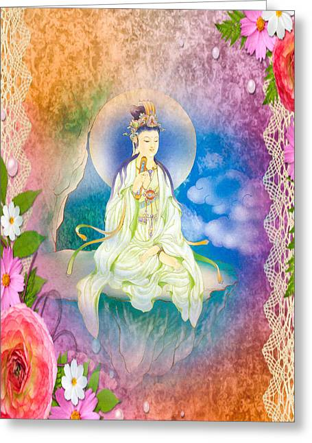 Sutra-holding Kuan Yin 1 Greeting Card by Lanjee Chee