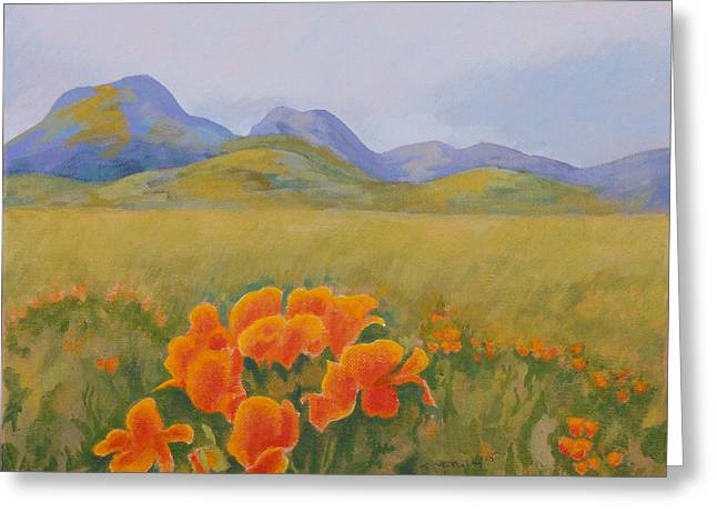 Sutter Buttes With California Poppies Greeting Card