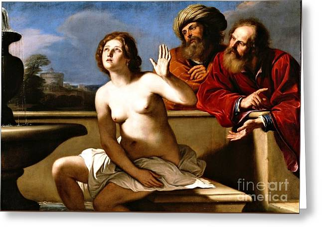 Suzanna And The Elders Greeting Card by Pg Reproductions