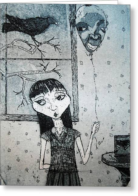 Greeting Card featuring the mixed media Suzannah by Josean Rivera