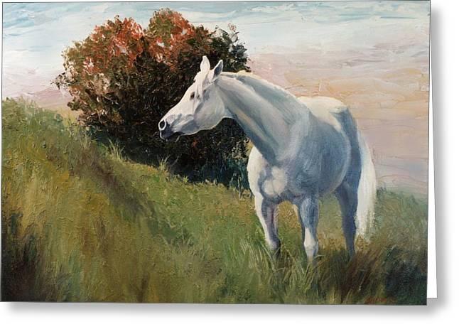 Suzie  Arabian Horse Portrait Painting Greeting Card by Kim Corpany