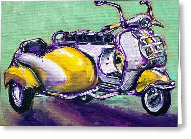 Suzie Sidecar Greeting Card by Sheila Tajima