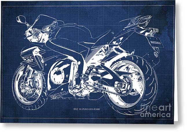 Suzuki Gsx-r1000 2012 Blueprint Gift For Men Greeting Card
