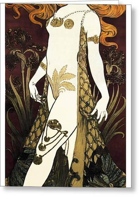 Suzy Deguez - Folies Bergere  1905 Greeting Card by Daniel Hagerman