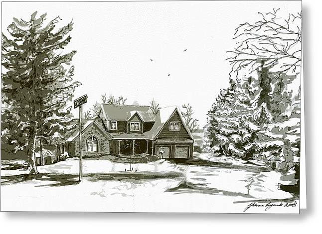 Svege Ny In Winter Greeting Card by Yvonne Ayoub
