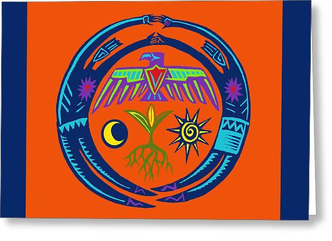 Greeting Card featuring the digital art Sw Shaman Eagle Rain Dance by Vagabond Folk Art - Virginia Vivier