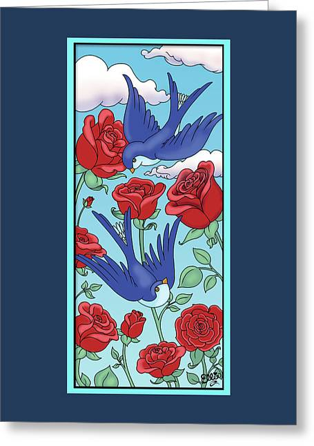 Swallows And Roses Greeting Card by Eleanor Hofer