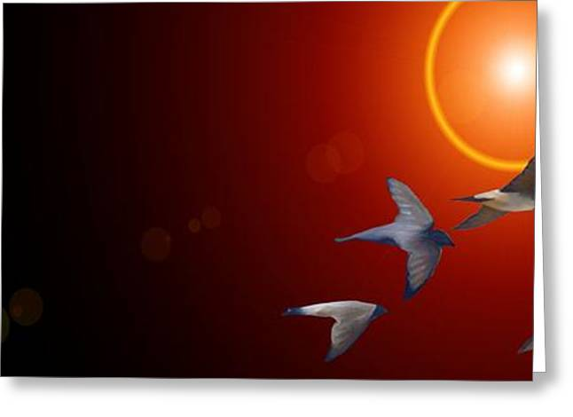 Swallows In Flight Greeting Card by George Pedro