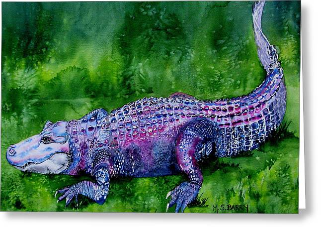 Swamp Gator Greeting Card by Maria Barry