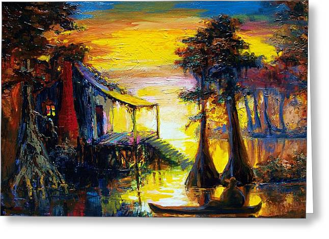 Zydeco Greeting Cards - Swamp Sunset Greeting Card by Saundra Bolen Samuel