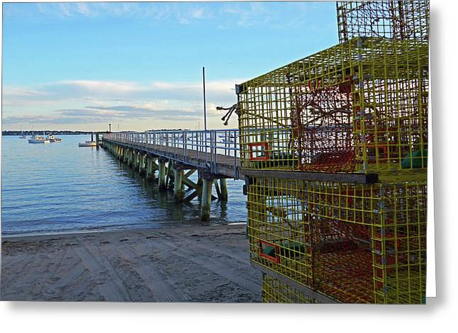 Swampscott Yacht Club Swampscott Ma Lobster Traps Greeting Card by Toby McGuire