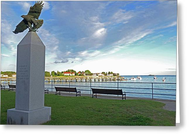 Swampscott Yacht Club Swampscott Ma Pier Eagle Statue Greeting Card by Toby McGuire