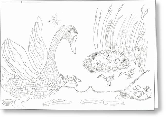 Swan And Hatchlings Greeting Card