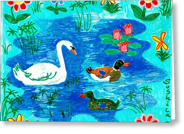 Sue Burgess Ceramics Greeting Cards - Swan and two ducks Greeting Card by Sushila Burgess