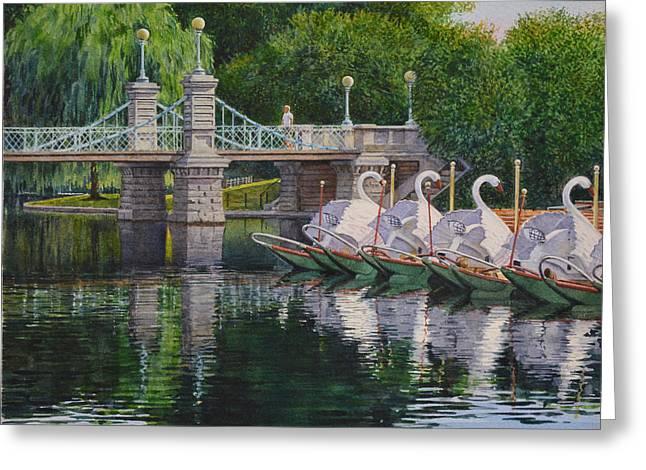 Swan Boats Boston Common Greeting Card