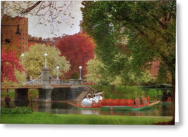Swan Boats In The Lagoon - Boston Public Garden Greeting Card by Joann Vitali