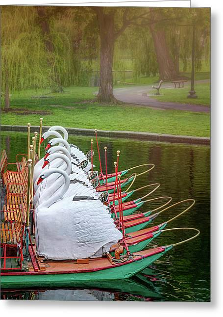 Swan Boats Of Boston Public Garden  Greeting Card