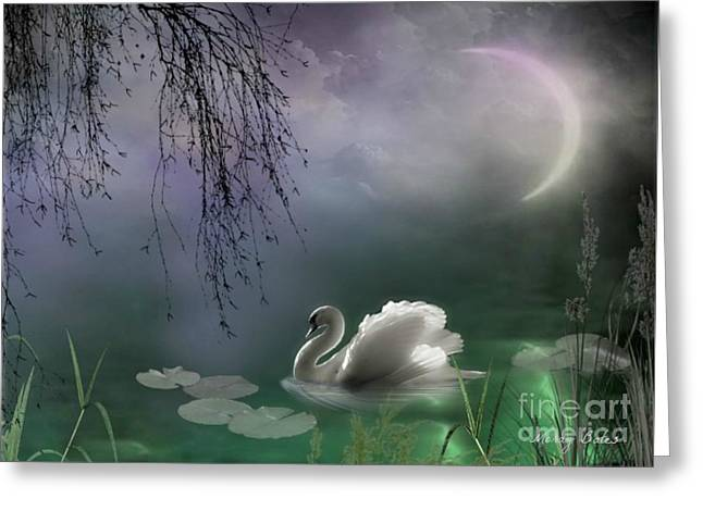 Swan By Moonlight Greeting Card
