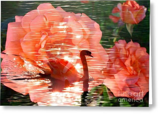 Swan In Lake With Orange Flowers Greeting Card