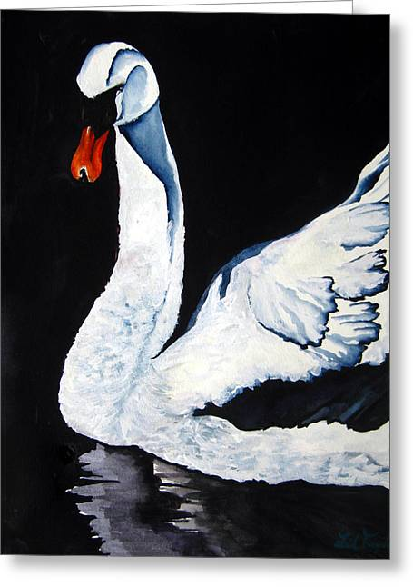 Greeting Card featuring the painting Swan In Shadows by Lil Taylor