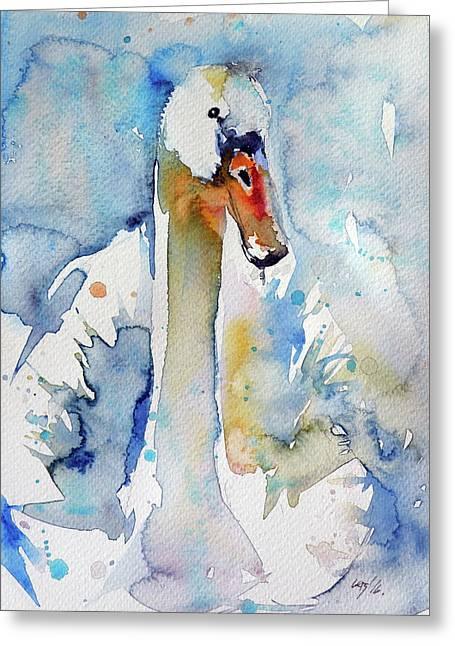 Swan Greeting Card by Kovacs Anna Brigitta