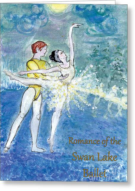 Swan Lake Ballet Poster Greeting Card by Marie Loh