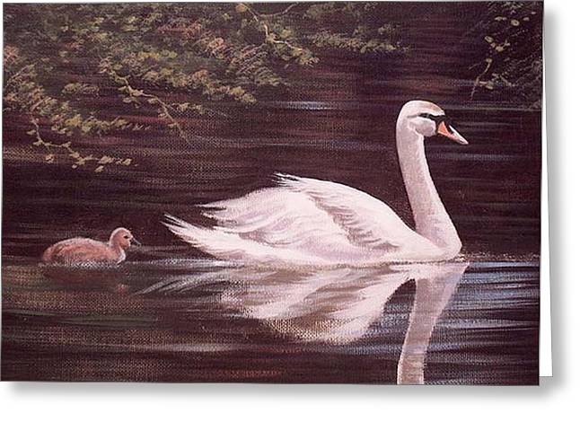 Swan Lake Greeting Card by Cathal O malley