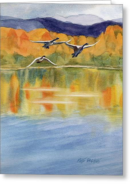 Swan Lake Revisited Greeting Card by Kris Parins