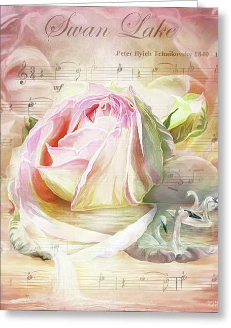 Swan Lake Rose Greeting Card