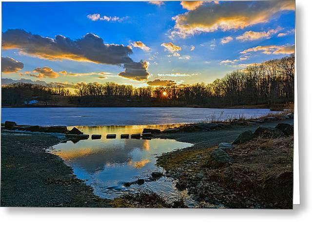 Swan Lake Sunset Greeting Card by Jeffrey Friedkin