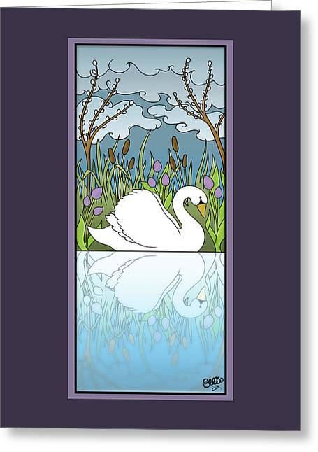 Swan On The River Greeting Card by Eleanor Hofer