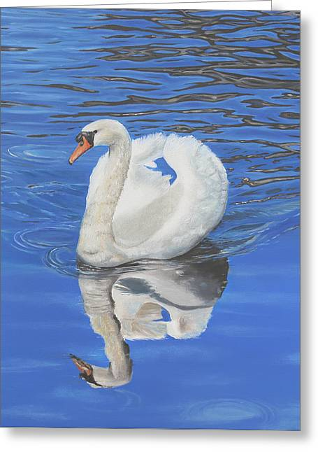 Greeting Card featuring the painting Swan Reflection by Elizabeth Lock