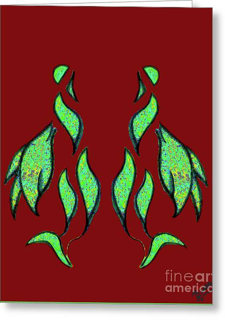 Swan Reflection Green Red Greeting Card