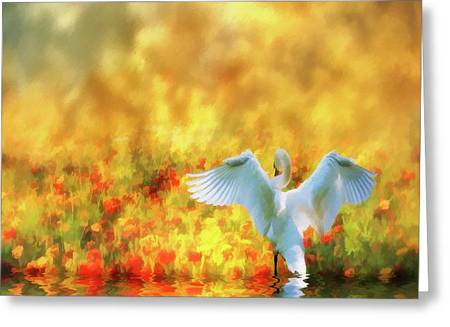 Swan Song At Sunset Thanks For The Good Day Lord Greeting Card