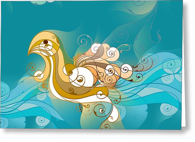 Swan Waves Greeting Card by Bedros Awak